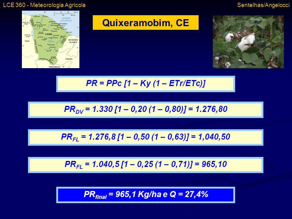 PR = PPc [1 – Ky (1 – ETr/ETc)]